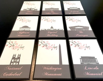 SAMPLE Washington DC Table Cards, Place Cards, Washington DC Table Names, Cherry Blossom, Capital, Pentagon Union Station Jefferson Building