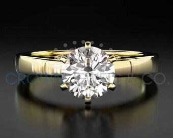 Engagement Ring 2 Carat H VS2 Round Brilliant Cut Women Solitaire Diamond Ring 18 Karat Yellow Gold Size 4 5 6 7 8