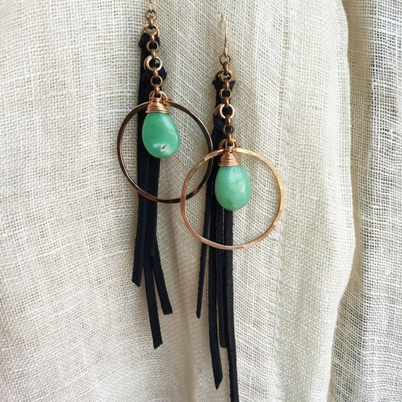 Pilgrimage Earrings bronze, leather and chrysoprase