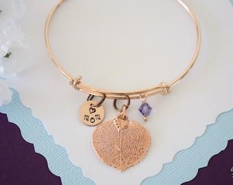 Leaf Bangle Rose Gold Mom Charm, Birthstone Rose Gold Leaf, Real Leaf Bracelet, Pink Aspen, Turquoise Mother Gift, Purple, Monogram