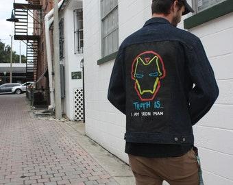 Hand Painted Denim Jacket Marvel's Iron Man