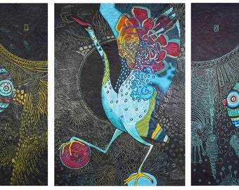 From Sun to Sun 2017 97cm * 210cm ink, coloured pencil, fiber painting on rice paper, triptych