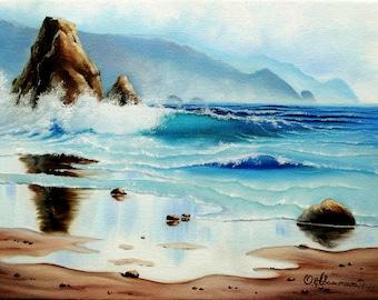 Oil Painting Seascape Ocean Sunrise Ocean Wave Sea Wave Ocean Landscape Ocean Art Original Painting On Canvas 12x16 in (30cm x 40cm)