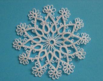 Tatted white handmade snowflake winter home decoration lace frivolite ornament
