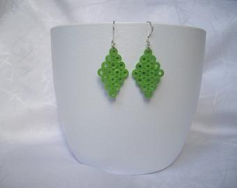 Earrings diamond, quilling, paper