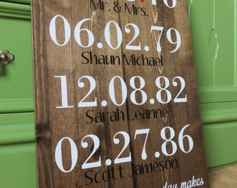 Family Dates & Names Wood Sign