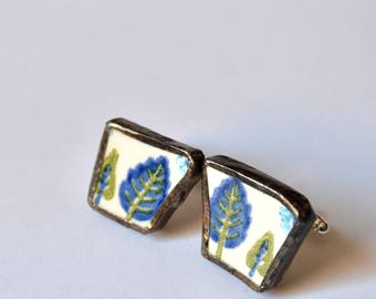 Broken China Cuff Links - Blue and Green Swiss Chalet