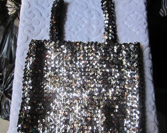 Vintage 1970s Tube Top/Metallic Gun Metal Sequin Tube Top/New Old Stock Macys Tube Top
