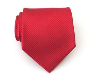 Red Necktie - Red Tone on Tone Striped Silk Tie