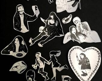 Bad and Sad Girls Stickers / Dark Punk Goth Witchy Death Tattoo Art / Sticker Pack