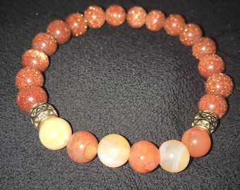 GoldStone & Carnelian Gemstone Bracelet