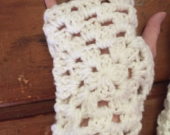 Crocheted Granny Square Fingerless Gloves