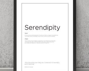 Serendipity definition print Serendipity typography print Serendipity print, Serendipity poster Typography print Quote print, Quote poster