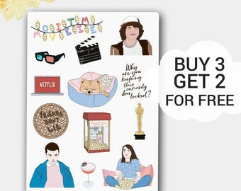 Movie Stickers, Movie Planner Stickers, Film Stickers, Planner Stickers, Eleven Stickers,Cinema,Oscar,Netflix, Stranger Things,Any Planner