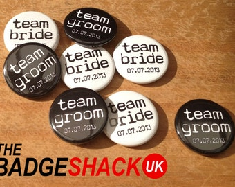 Personalised Team Bride and Groom Wedding favours (pack of 76). Available as 2.5cm Badges or 3.8cm Badges or magnets