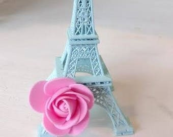 """1 Aqua Shabby Chic Eiffel Tower with Pink Rose 6"""" Size Paris France"""