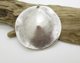 Silver Pewter Domed Round Pendant, Rustic Silver Pendant, Tribal Round Pendant 40mm (1)