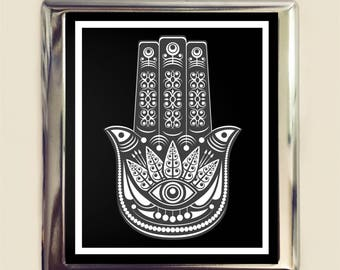 Hamsa Cigarette Case Business Card ID Holder Wallet Protection Symbol New Age Metaphysical Spiritual Spirituality