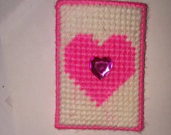 Handmade Plastic Canvas Heart Gift Card Holder in Red, pink or purple
