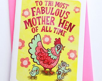Fabulous Mother Hen -Chicken Mother's day card for mom mothers day gift funny mothers day card sweet mothers day card unique gift for mother