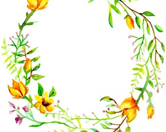 Yellow Flower Wreath Print
