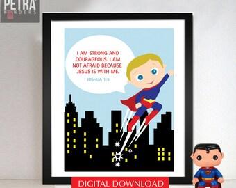 Superhero Wall Art, Digital / Instant download boys Bedroom Print. Bible verse wall art,Be strong and courageous, Superhero Bedroom Art