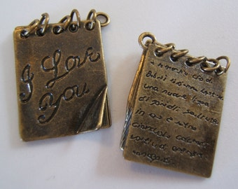 Sweet *I Love You*  Spiral Book Moveable Charms in an Antiqued Bronze Finish