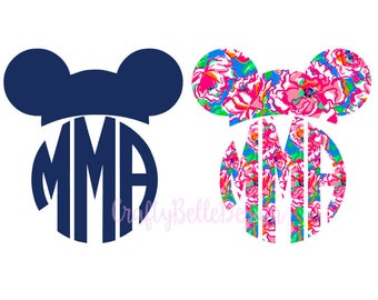 Disney Mouse Ears Monogram | Lilly Pulitzer Inspired Monogram | Lilly Pulitzer Inspired Disney Monogram | Disney Monogram Decal | Disney