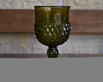 Set of Six (6) Indiana Glass Diamond Point Olive Green Goblets