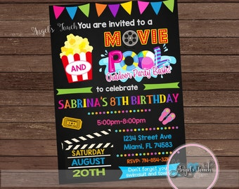movie party invitation movie night party invitation backyard