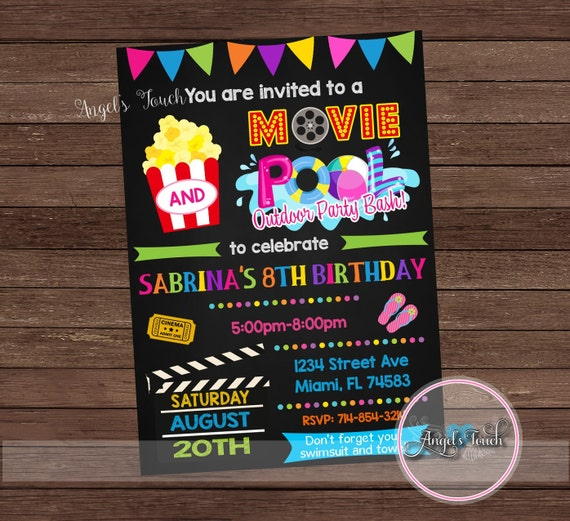 movie and pool party invitation movie night party invitation