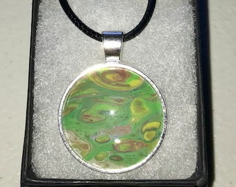 Acrylic Pour Necklace Wearable Green Art