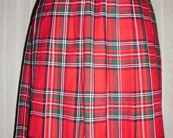 Vintage Red Plaid Pleated Skirt
