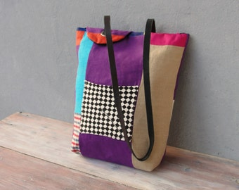 Linen Patchwork Tote Leather strap, Circus style