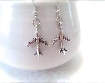 Teeny Silver Airplane Earrings. Simple Dangle Earrings. Unique Small Earrings. Under 10 Gifts. In Flight. Air Travel. Plane. Minimalist.