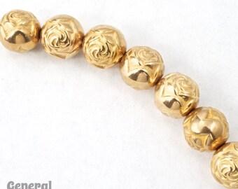 9mm Bright Gold Rose Bead #MPC016