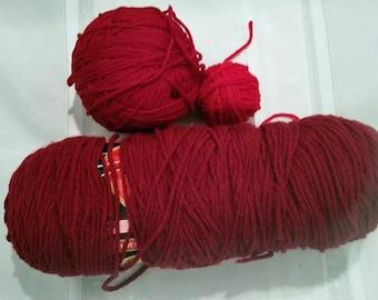 Destash Burgundy and Red Acrylic Yarn