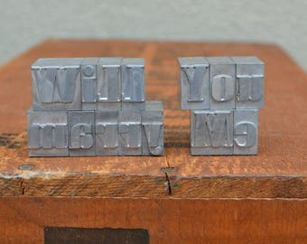 Will you marry me - Vintage letterpress - Valentine's day gift - engagement, unique marriage proposal TS1007