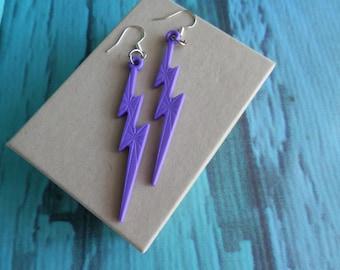 Purple Lightning bolt Earrings
