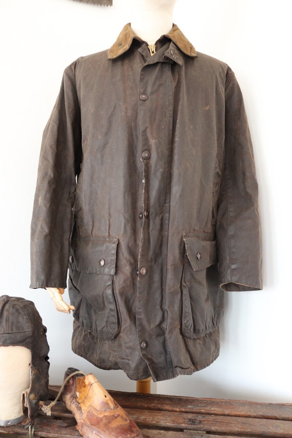 "Vintage brown Barbour Northumbria waxed cotton jacket XL 50"" chest made in England walking camping"