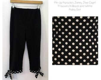 Jenny Jive Polka Dot Self Tie Capri- 1950s Style Capri Trouser with Self-Tie Cuffs