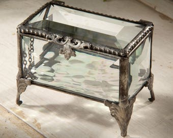 Glass Box Jewelry Box Vintage Beveled Glass Keepsake Box Jewelry Holder Display Jewelry Storage Wedding Bridesmaid Gift for Her Ring Box 310
