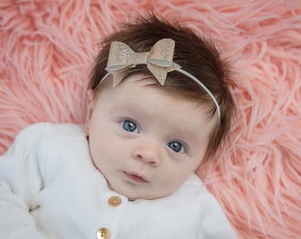 Gold Baby Bow Headband, Gold Bow Headband, Glitter Bow Headband, Baby Girl Headband, Baby Headband, Newborn Headband, Newborn Bows