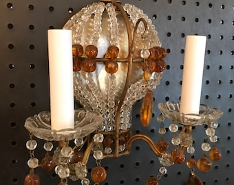 Beautiful Vintage Petite Colored Crystal Beaded Sconce