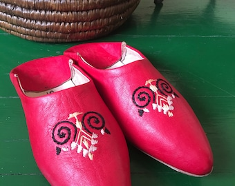Moroccan Leather Babouche, Red Leather Mule, Red Babouche, Moroccan Babouche, Embroidered Red Leather Slipper, Red Boho Leather Mule