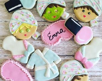Spa party cookies sugar