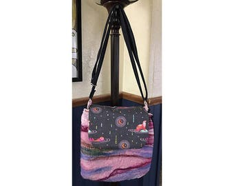 Hand Felted 3-Pocket Cross Body/Shoulder Purse
