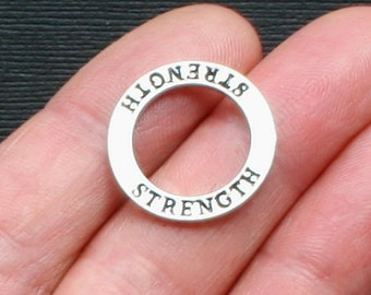 4 Strength Charms Antique Silver Tone Two Sided Affirmation Circles - SC1484