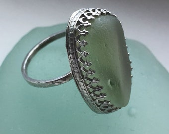 UV seaglass and steling silver hand crafted ring