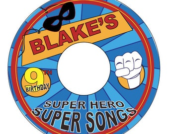Super Hero Super Songs Custom CD Label